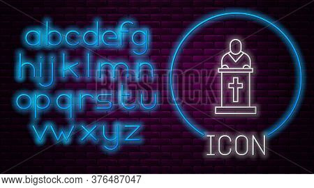 Glowing Neon Line Church Pastor Preaching Icon Isolated On Brick Wall Background. Neon Light Alphabe