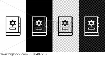 Set Line Jewish Torah Book Icon Isolated On Black And White Background. On The Cover Of The Bible Is