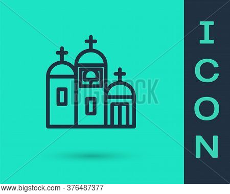 Black Line Church Building Icon Isolated On Green Background. Christian Church. Religion Of Church.
