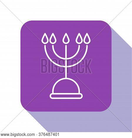 White Line Hanukkah Menorah Icon Isolated On White Background. Hanukkah Traditional Symbol. Holiday