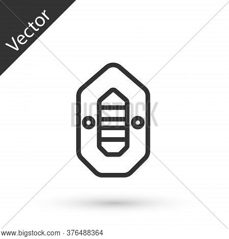 Grey Line Rafting Boat Icon Isolated On White Background. Inflatable Boat. Water Sports, Extreme Spo