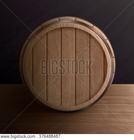 Wooden Barrel Roll Realistic Composition With Top View Of Wood Cask On Table With Metal Rim Vector I