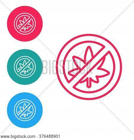 Red Line Stop Marijuana Or Cannabis Leaf Icon Isolated On White Background. No Smoking Marijuana. He