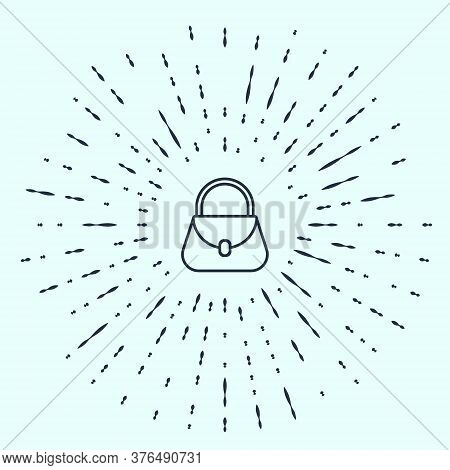 Black Line Handbag Icon Isolated On Grey Background. Female Handbag Sign. Glamour Casual Baggage Sym