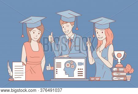 Happy Smiling People In Formal Clothes And Square Academic Caps Vector Cartoon Outline Illustration.