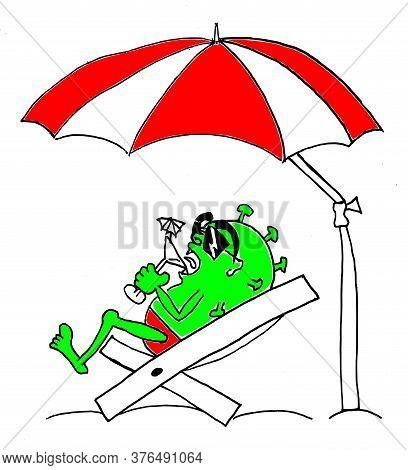 Coronavirus (covid-19) Strikes Even On The Summer Days. In The Shade Of Umbrella Corona Enjoying Wit
