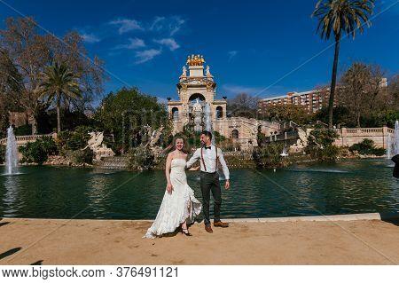Barcelona, Spain - 04.02.2020. Portraits Of A Newly Married Couple Outdoors.