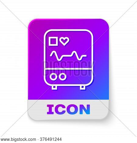 White Line Computer Monitor With Cardiogram Icon Isolated On White Background. Monitoring Icon. Ecg