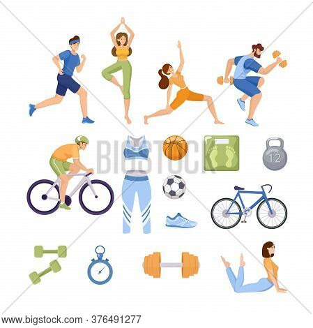 Set Of Sports Items. Happy People In Sport Clothes Doing Workout, Yoga, And Stretching. Sport Clothe