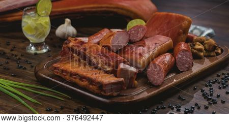 Table With Food Smoked Pork, For Feijoada, Tipical Brazilian Food