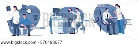 Medical Examination Set Of Three Isolated Compositions With Flat Characters Of Patients Doctors And