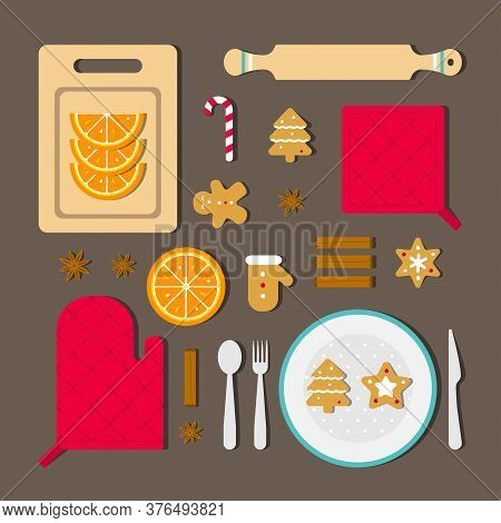 Vector Illustration Concept With Knolling Food To Cook Christmas Dinner. Tasty Ingridients As Cinnam
