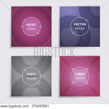 Modern Plate Music Album Covers Collection. Semicircle Curve Lines Patterns. Colorful Plate Music Re