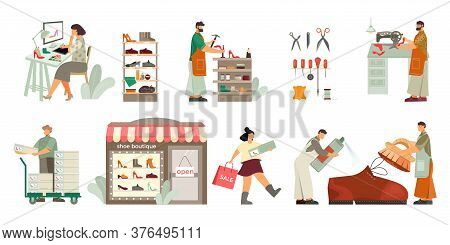 Footwear Designer Shoemaker Shop Window Display Customer Purchased Pumps Shoes Care Cleaning Flat Co