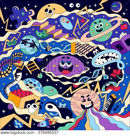 Funny Universe Big Bang Seamless Coloring Pattern With Laughing Planets Distorted Dali Style Clock A