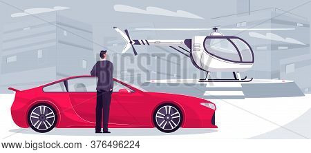 Millionaire Transport Composition With Urban Cityscape Background And Doodle Man With Sport Car And