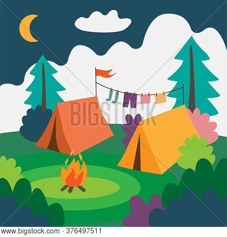 Camp With Two Tents And Campfire. Natural Landscape With Tents.
