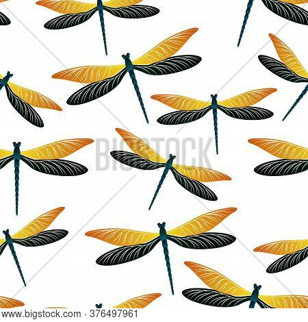 Dragonfly Flat Seamless Pattern. Repeating Clothes Fabric Print With Darning-needle Insects. Garden