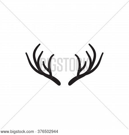 Black Antler Icon Symbol Vector Isolated On White Background