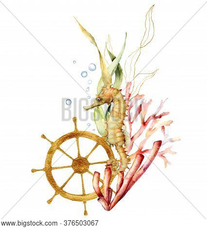 Watercolor Seahorse, Golden Helm And Laminaria Composition. Hand Painted Underwater Illustration Wit