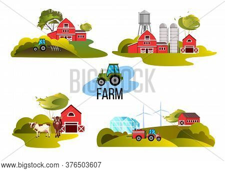 Farm vector collection with tractor, cow, barn, green trees, hills, water tower. Set of countryside buildings in flat style isolated on white. Rustic agriculture village illustration.