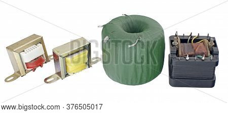 The Small Electrical Transformers On White Background