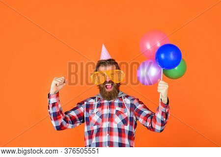Man With Balloons. Celebrating Concept. Party Time. Joy, Fun And Happiness Concept. Happy Birthday,