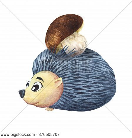 Watercolor Image Of Cute Cartoon Hedgehog With White Mushroom In Needles On Its Back. Hand Drawn Ill