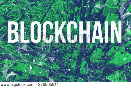 Blockchain Theme With Abstract Network Patterns And Manhattan Ny Skyscrapers