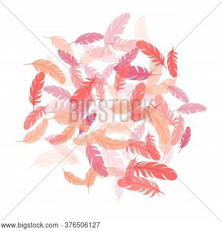 Weightless Pink Flamingo Feathers Vector Background. Wildlife Nature Isolated Plumage. Decorative Co