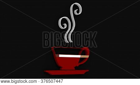 3d Rendering Of A Red Coffe Cup Logo Wih A Lit Cigarette And Steam With A Black Background