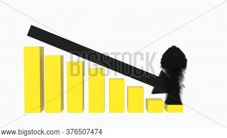 3d Rendering Of Yellow And Black Descending Then Smoking Bar Graph Over A White Endless Background