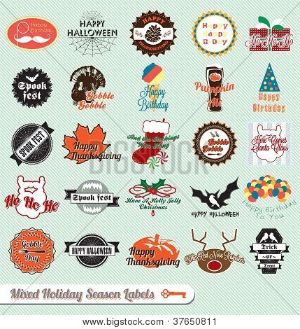 Vector Set: VIntage Mixed Holiday Labels and Stickers