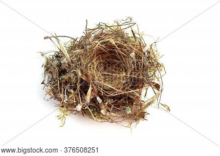 Close-up Empty Swallows Nest Isolated On White Background. Bird Home. Top View. Consists Of Dry Hay,