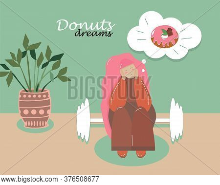 Fat Overweight Woman Sitting On A Dumbbells Dreaming Of A Donut, Concept Of Unhealthy Diet Vector Il