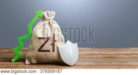 Polish Zloty Money Bag With A Shield And A Green Arrow Up. Increasing The Maximum Amount Of Guarante