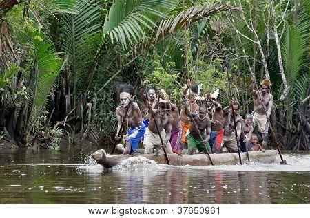 Canoe war ceremony of Asmat people.