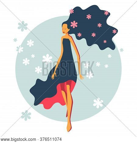 Beautiful Elegant Young Girl In A Light Dress Surrounded By Floating Flowers As A Symbol Of Spring A