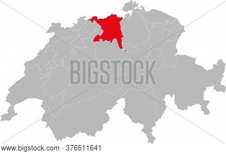Aargau Switzerland Canton Isolated On Switzerland Map. Gray Background. Backgrounds And Wallpapers.