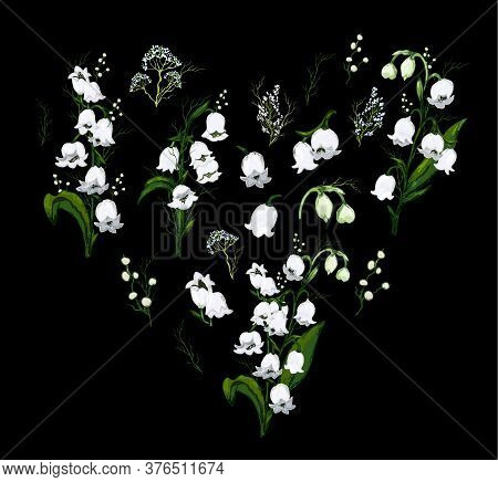Spring Set, A Bouquet Of Lily Of The Valley Flowers In The Form Of A Heart. Hand-drawn Realistic Doo