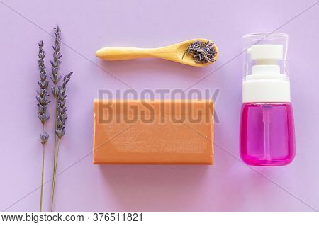 Lavender Soap, Lavander Hydrolyte And Bouquet On Violet Background, Homemade Cosmetics, And Beauty C