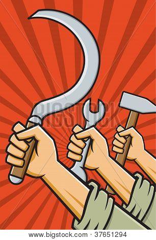 Raised Fists Holding Tools