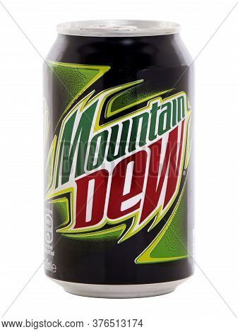 Bucharest, Romania - May 26, 2015. Can Of Mountain Dew Drink. Mountain Dew Is A Carbonated Soft Drin