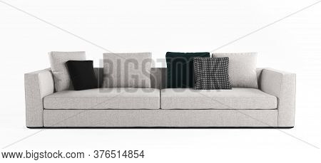 Furniture, Interior Object, Stylish Sofa. Modern Scandinavian Classic Gray Sofa With Pillows On Isol