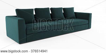 Furniture, Interior Object, Stylish Sofa. Modern Scandinavian Classic Green Sofa With Pillows On Iso