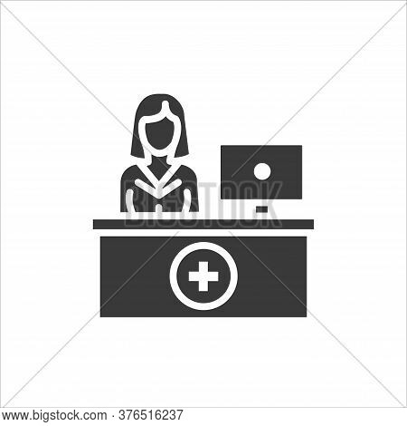 Pharmacy Counter With Pharmacist Glyph Black Icon. Nursing Service Concept. Hospital Sign. Pictogram