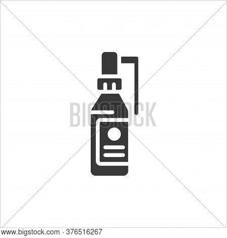 Bottle Throat Spray Glyph Black Icon. Antiseptic Aerosol. Angina, Pharyngitis, Tonsillitis Cure. Tre