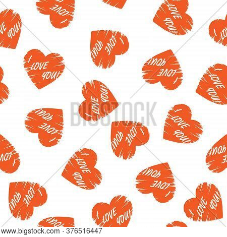 Stylized Seamless Pattern With Heart And I Love You Lettering For Texture, Textiles, Packaging And B