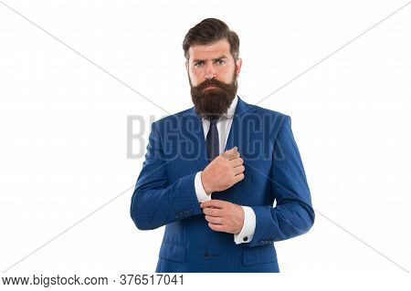 Handsome Hipster Expensive Clothes White Background. Menswear Concept. Fashion Boutique. Elevate You