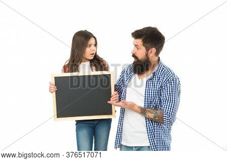 Advertising Or Promotion. Father And Daughter Hold Chalkboard Copy Space. Family News. Sale And Disc